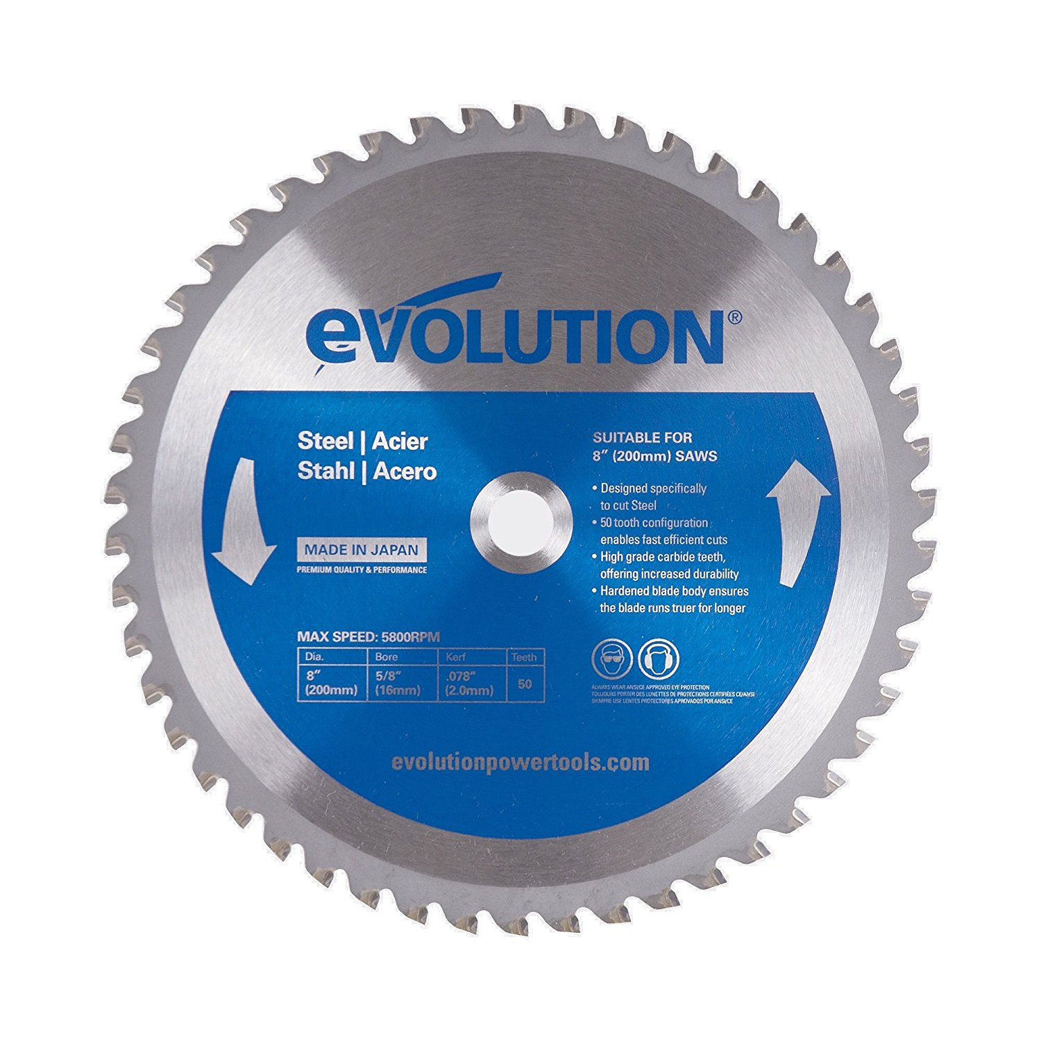 8-Inch X 50-Tooth Steel Cutting Saw Blade