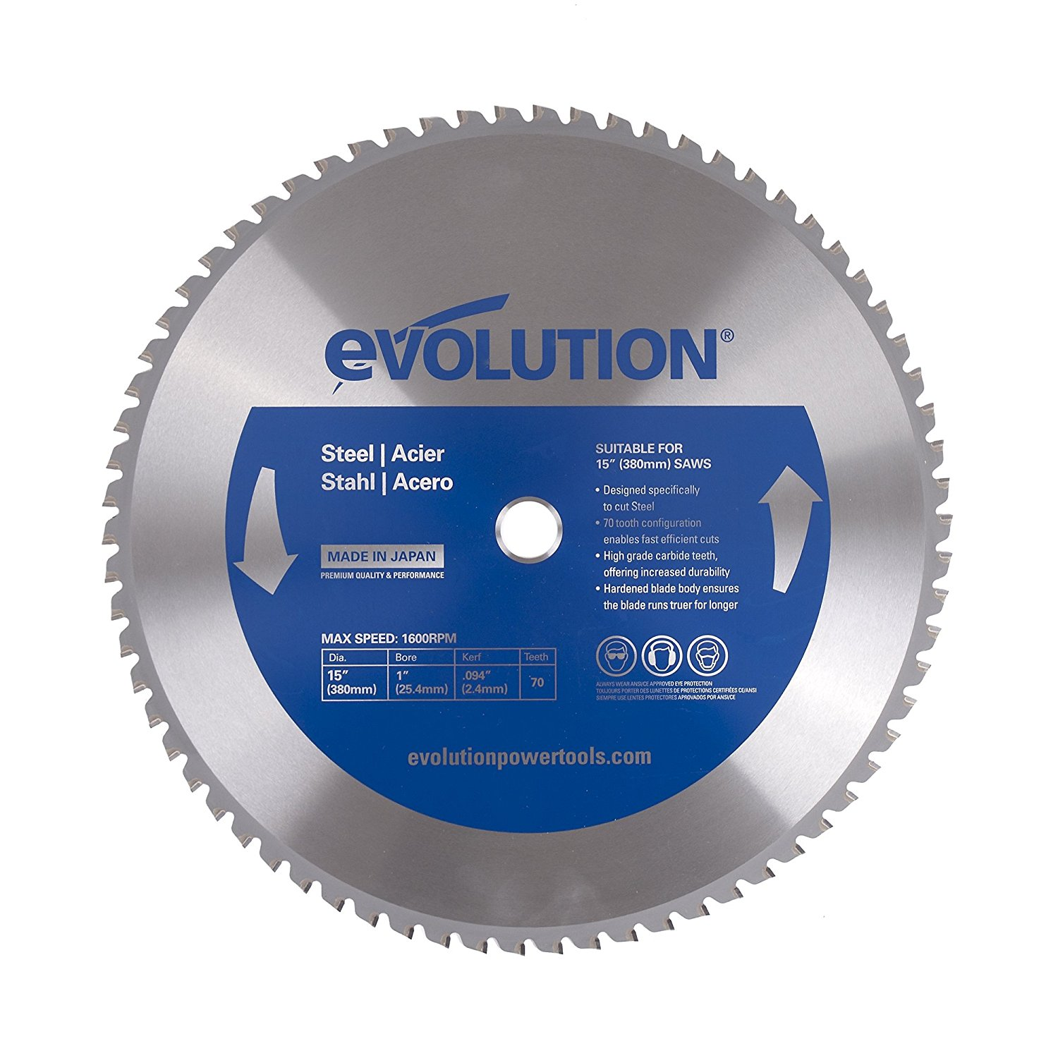 15-Inch X 70-Tooth Steel Cutting Saw Blade