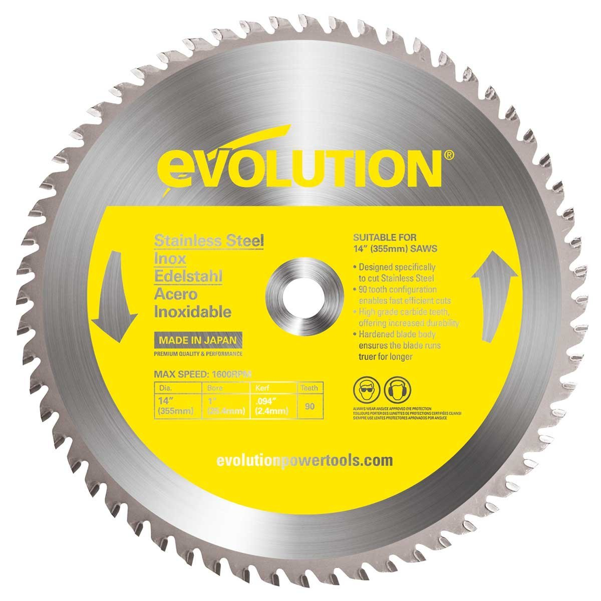 14-Inch X 90-Tooth Stainless Steel Cutting Saw Blade