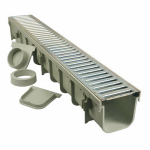 Pro Series Channel Drain Kit With Metal Grate
