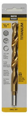 295170,295170,Titanium Jobber Length Drill Bit,Master Mechanic,HS Steel Titanium Coated Drill Bit 1/2x6 in.,HS,Steel,Titanium,Coated,Drill,Bit,1/2x6,in.