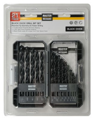 441496,441496,Drill Bit Set,Master Mechanic,Black Oxide Drill Bit Set 21 Piece,Black,Oxide,Drill,Bit,Set,21,Piece